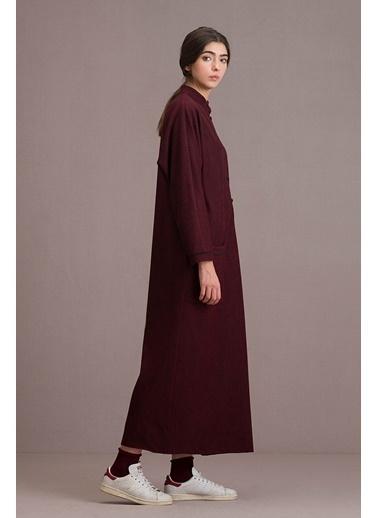 Eda Atalay Biyeli Cep Detaylı Maksi Elbise Bordo